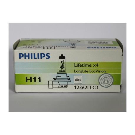ampoule h11 philips longlife ecovision h11 12v 55w pgj19 2. Black Bedroom Furniture Sets. Home Design Ideas