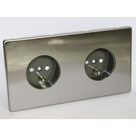 Outlet double brushed steel