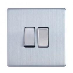 Interrupteur à touche double en acier brossé