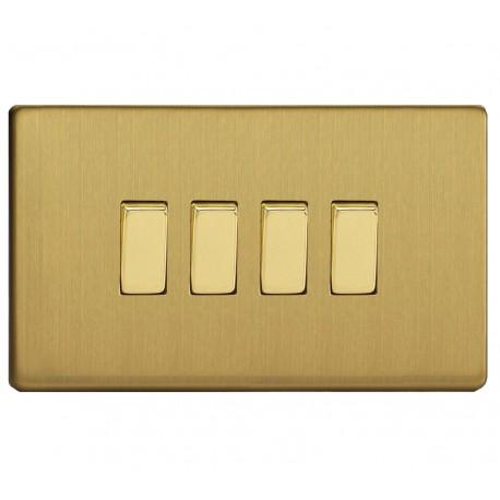 Interrupteur à touche quadruple en laiton brossé