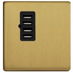 Prise chargeur 4 USB en laiton brossé