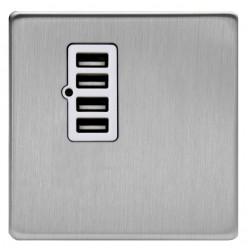 Charger connector 4 USB in brushed steel