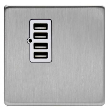 Prise chargeur 4 USB en acier brossé