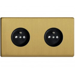Outlet double brushed brass 16A