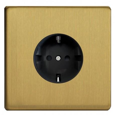 Power socket in brushed brass Germany