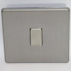 Interrupteur à touche simple en acier brossé