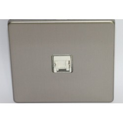 Internet socket RJ 45 cat. 6 brushed steel