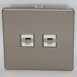 Double socket internet RJ 45 cat. 6 brushed steel