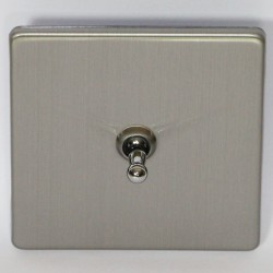 Toggle switch single brushed steel