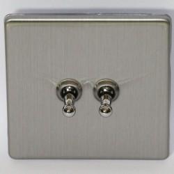 Interrupteur à bascule double en acier brossé