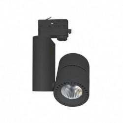 Spot LED sur Rail Noir 40W 4000°K 3600 LM + adaptateur rail 3 phases