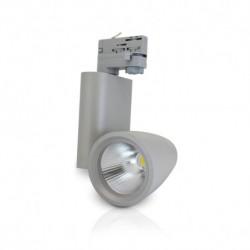 Spot LED sur Rail Gris 30W 4000°K 3150 LM + Adaptateur rail 3 allumages