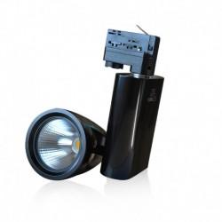 Spot LED sur Rail Noir 30W 4000°K 2550 LM + adaptateur rail 3 allumages
