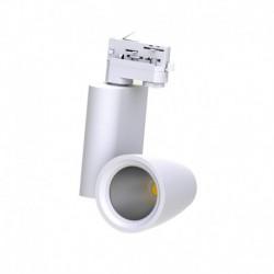 Spot LED sur Rail Blanc 30W 4000°K 2550 LM + adaptateur rail 3 allumages