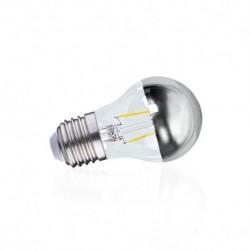 Ampoule sphérique filament LED E27 calotte argentée G45 4W 2700 Kelvin blanc chaud 410 lumen