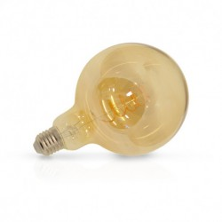 Ampoule globe filament LED E27 G125 dorée 4W 2700 Kelvin blanc chaud 160 lumen