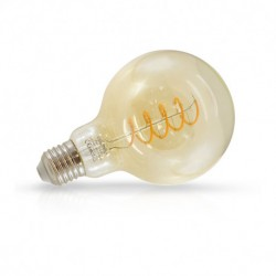 Ampoule globe filament LED Miroir Doré E27 G95 4W 2700 Kelvin blanc chaud 160 lumen