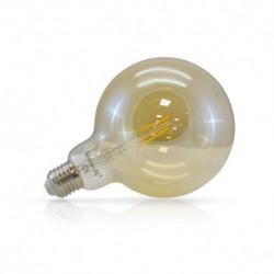 Ampoule globe filament LED E27 G125 dorée 2W 2700 Kelvin blanc chaud 220 lumen