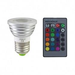 Ampoule LED E27 RGB 3W + Télécommande