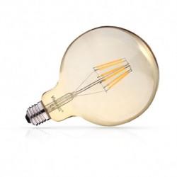 Ampoule filament LED GLOBE G125 E27 8W DIMMABLE dorée 2700 Kelvin blanc chaud 1050 lumen