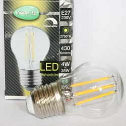 LED spherical E27 4W 2700 Kelvin DIMMABLE warm light 430 lumen