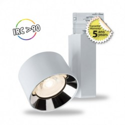 Spot LED sur rail blanc 10W 3000 Kelvin haut rendu des couleurs 1000 lumen + Adaptateur 3 allumages