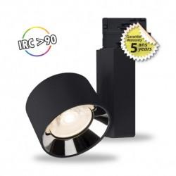 Spot LED sur rail noir 10W 3000 Kelvin haut rendu des couleurs 1000 lumen + Adaptateur 3 allumages