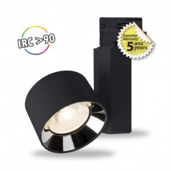 Spot LED sur rail noir 10W 4000 Kelvin haut rendu des couleurs 1050 lumen + Adaptateur 3 allumages