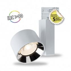 Spot LED sur rail blanc 20W 3000 Kelvin haut rendu des couleurs 2000 lumen + Adaptateur 3 allumages