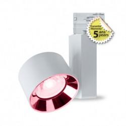 Spot LED sur rail blanc 30W rose 1650 lumen + Adaptateur 3 allumages