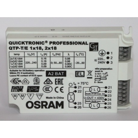 OSRAM QUICKTRONIC PROFESSIONAL QTP-T/E 1X18, 2 X 18