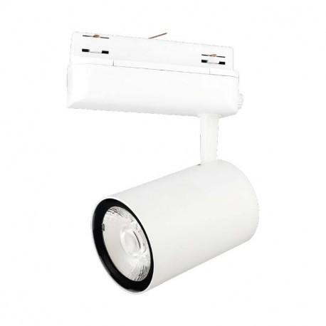 LED spotlight, LED on rail white 40W 3000 Kelvin, 3200 lumens adapter rail 3 phases